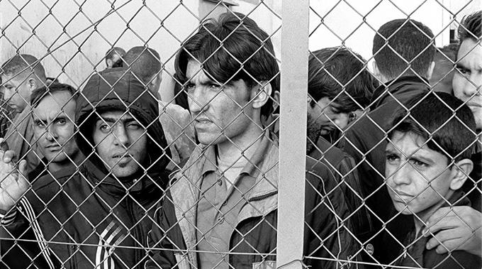 Arrested refugees - Fylakio Detetntion Center, Thrace, Evros, Greece.